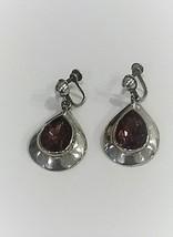 Vintage Sterling Silver tear drop, dangle earrings, amethyst, screw back. - $58.00