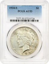 1934-S $1 PCGS AU53 - Key Date from San Francisco - Peace Silver Dollar - $455.90