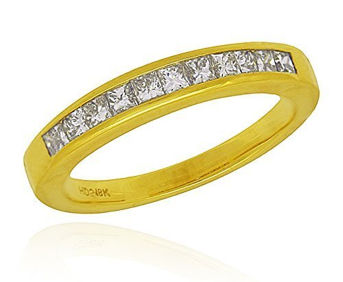 18K Yellow Gold 0.50 cttw Princess Cut Channel Set Diamond Wedding Anniversary B