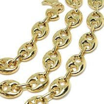 18K YELLOW GOLD MARINER CHAIN BIG OVALS 10 MM, 24 INCHES ANCHOR ROUNDED NECKLACE image 3