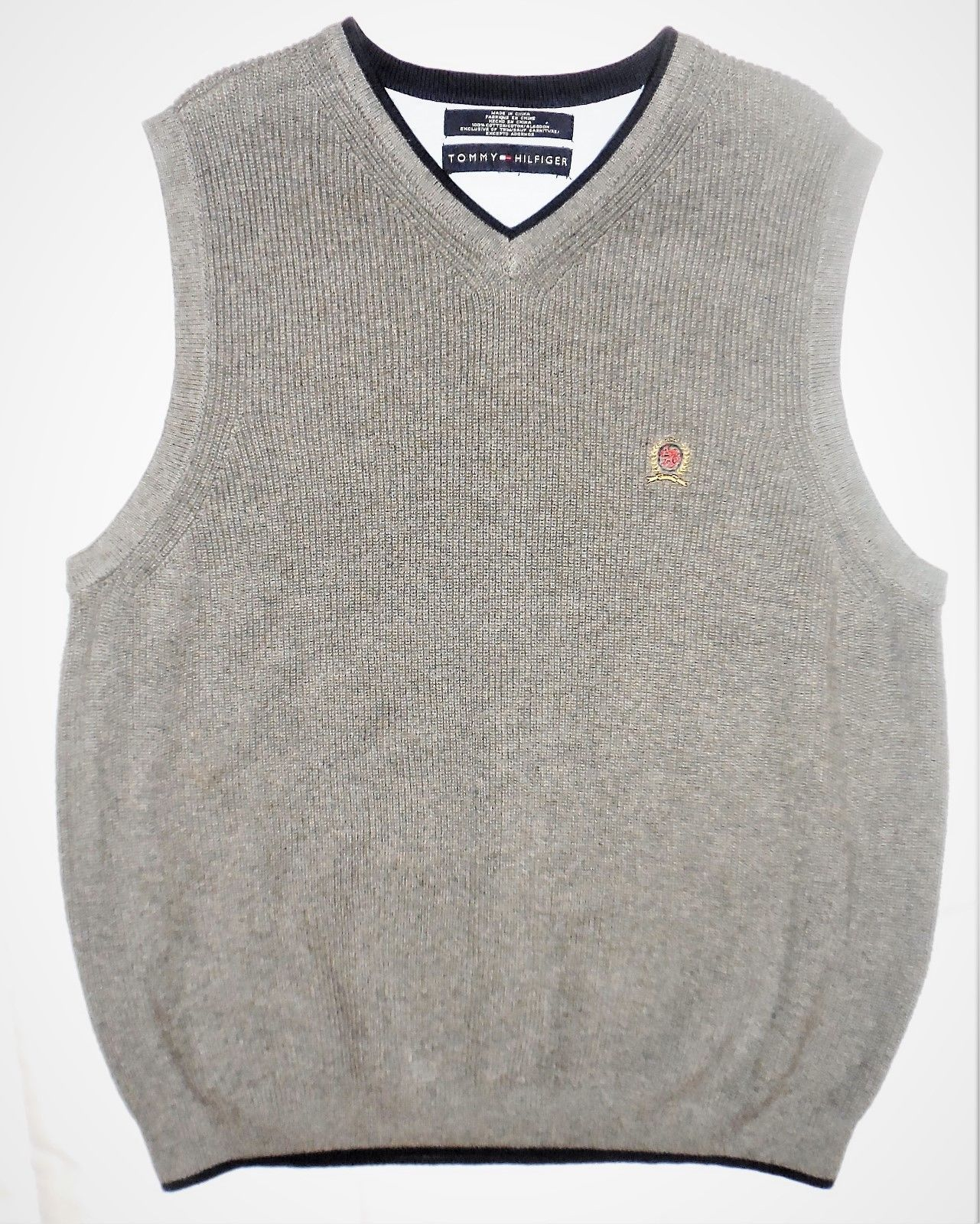 Tommy Hilfiger M Gray Knit V-Neck 100% Cotton Pullover Sleeveless Sweater Vest image 6