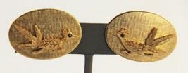 50's VINTAGE Jewelry ROADRUNNER GOLD METAL CLIP EARRINGS RETRO KITSCHY - $15.00
