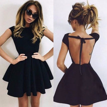 Party backless flared women skater dress thumb200