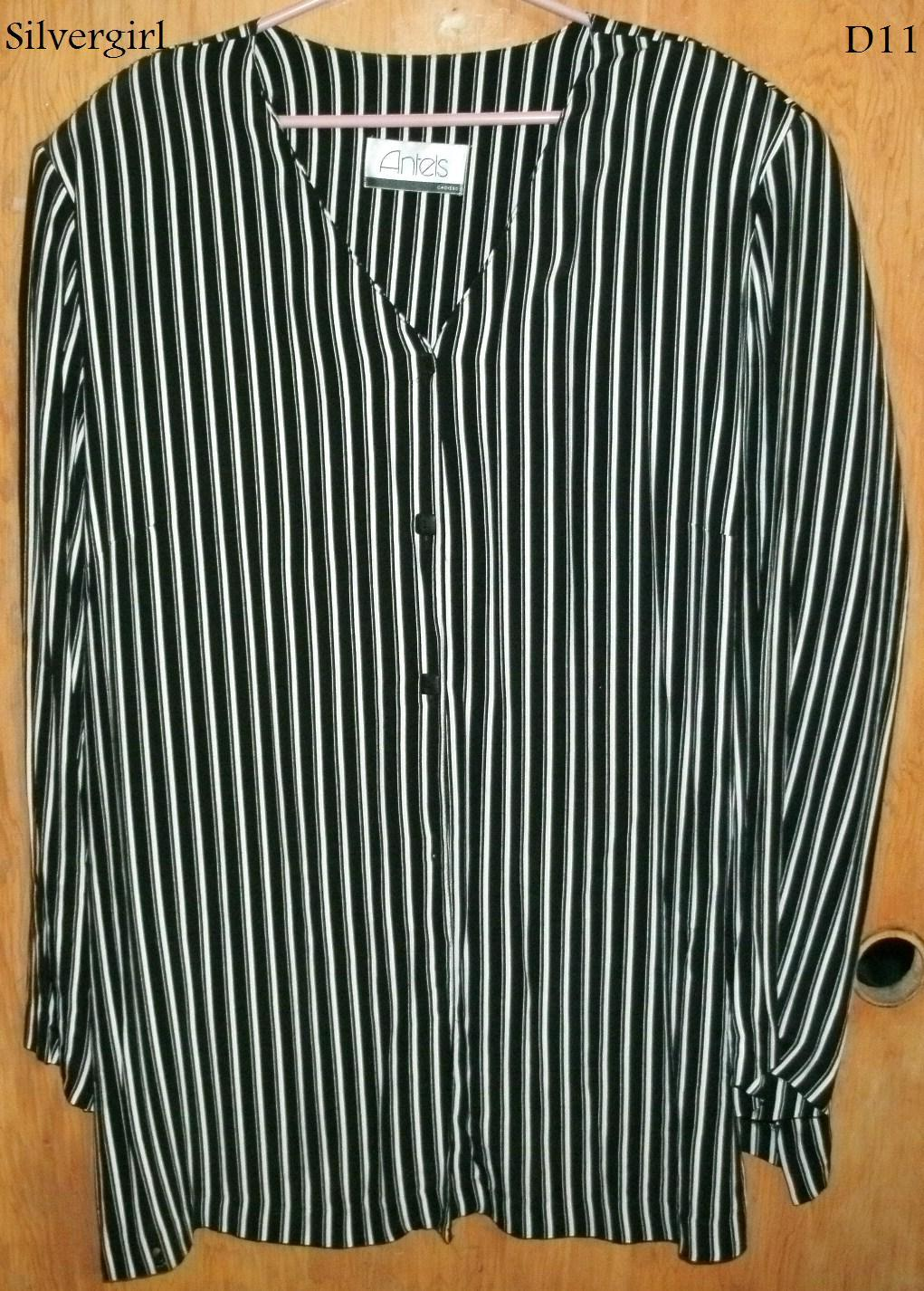 Primary image for Black White Striped Antels Ladies Blouse Top SZ 42 Career-Casual