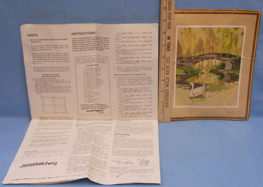 """Sunset Designs Time To Reflect  Swan Embroidery Craft  Kit  Pattern  18"""" x 22"""""""