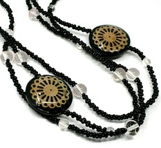 Necklace Antica Murrina Venezia, 3 Wires, Discs with Flowers, Black, CO724A14 image 2