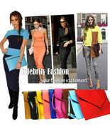 ac44 Celebrity Fashion Oversized Bold Bright Candy Colour Envelope Clutch Bag - $19.99