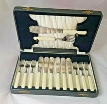 Vintage silver plate  Fish Knife Fork Set 6 Knives 6 Forks and serving s... - $34.14