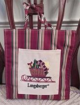 Longaberger Basket HOLIDAY STRIPE SLEIGH Tote Bag New + Free Gift Bag - $15.00