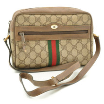 GUCCI Sherry Line GG Canvas Shoulder Bag Red Green PVC Leather 9140 **Po... - $240.00