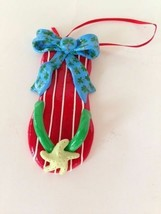 Flip Flop Ornament Christmas Thong Starfish Palm Tree Polymer Resin Hand... - $18.42