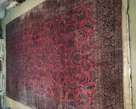 Red Sarouk Persian Wool Handmade Rug 11' x 18' Vivid Red Detailed Original Rug image 3