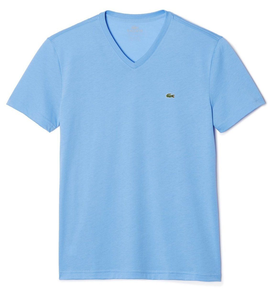 BRAND NEW LACOSTE MEN'S PREMIUM PIMA COTTON SPORT V-NECK SHIRT T-SHIRT BLUE LAKE