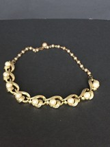 Vintage Signed Lisner Gold Tone Faux Pearl Sparkle Rhinestone Necklace - $25.19