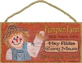 """Pumpkin Farm Scarecrow Halloween Fall Sign Plaque Decor 5""""x10"""" - $16.17"""