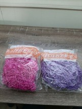 (2)  Easter Basket Grass Crinkled Paper , Purple & Pink. New  - $8.77