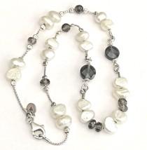 SILPADA .925 Sterling Silver Freshwater Pearl Smoky Quartz Chain Necklac... - $57.30