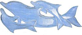 WorldBazzar New LG Hand Carved Blue White WASH Wood Dolphin Family Wall Art Hang - $29.64