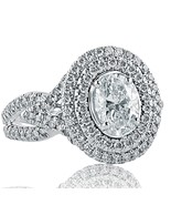 2.16 Ct Oval Cut Natural Diamond Engagement Halo Ring Split Shank 14k Wh... - $6,268.59