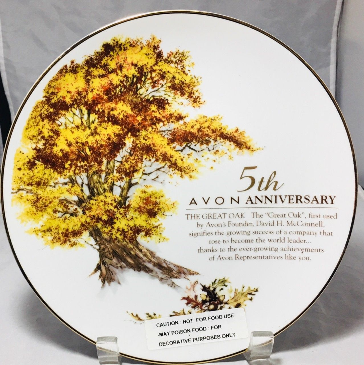 AVON 5TH ANNIVERSARY PLATE WITH 22K GOLD RIM