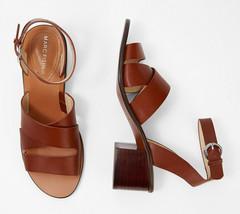 Marc Fisher Leather Block Heeled Sandals - Omela Cognac 7 M - $59.39