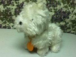 Vintage, 12in x 9.5in x 6in Furry White Dog with Original Tag or Collar - $14.95