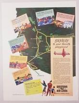 1947 Print Ad Western Air Lines America's Pioneer Airline Skyway in Airp... - $14.21