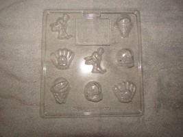 WILTON chocolate candy mold sheet 8 molds RE SPORTS w/instruc - $4.00