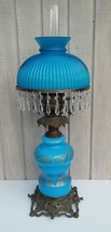 Blue GWTW Lamp French Fount English Duplex Cased Shade 32 Crystals 4 Dra... - $222.75