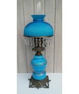 Blue GWTW Lamp French Fount English Duplex Cased Shade 32 Crystals 4 Dra... - $222.75