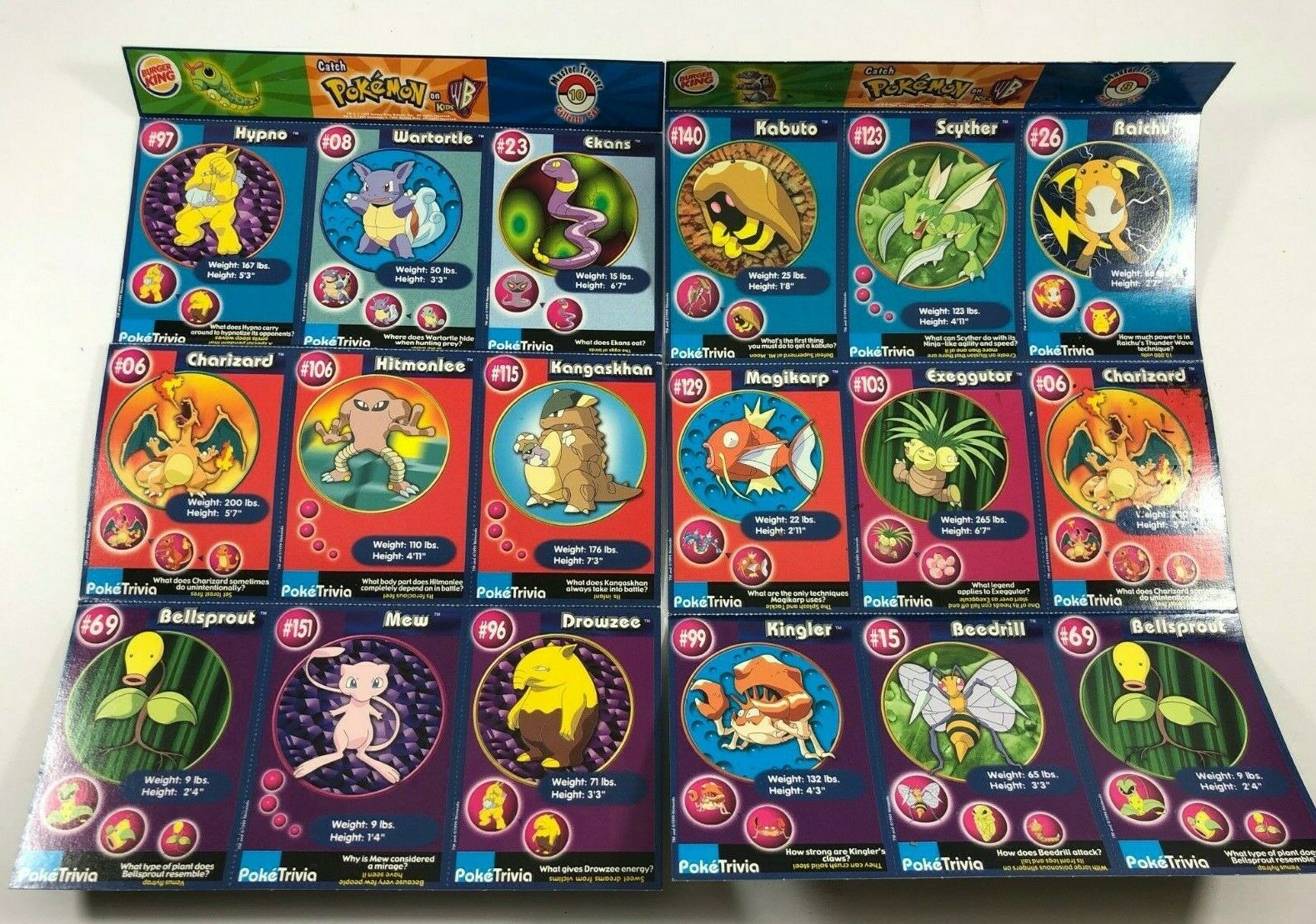 Lot of two sheets Burger King POKEMON The First Movie 18 Trading Cards