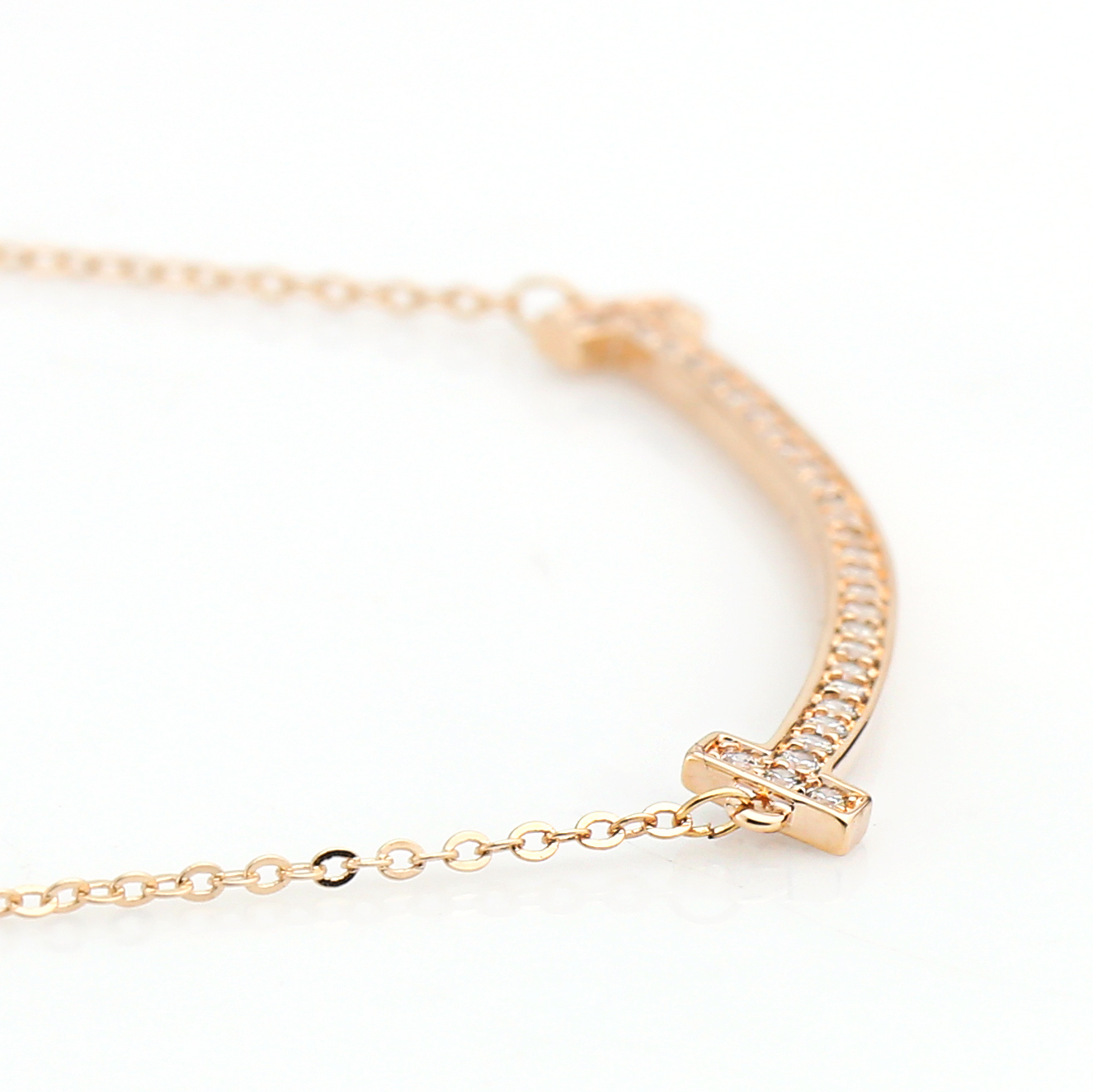 UE- Sleek Rose Tone Designer Bar Necklace With Pave Set Swarovski Style Crystals image 3