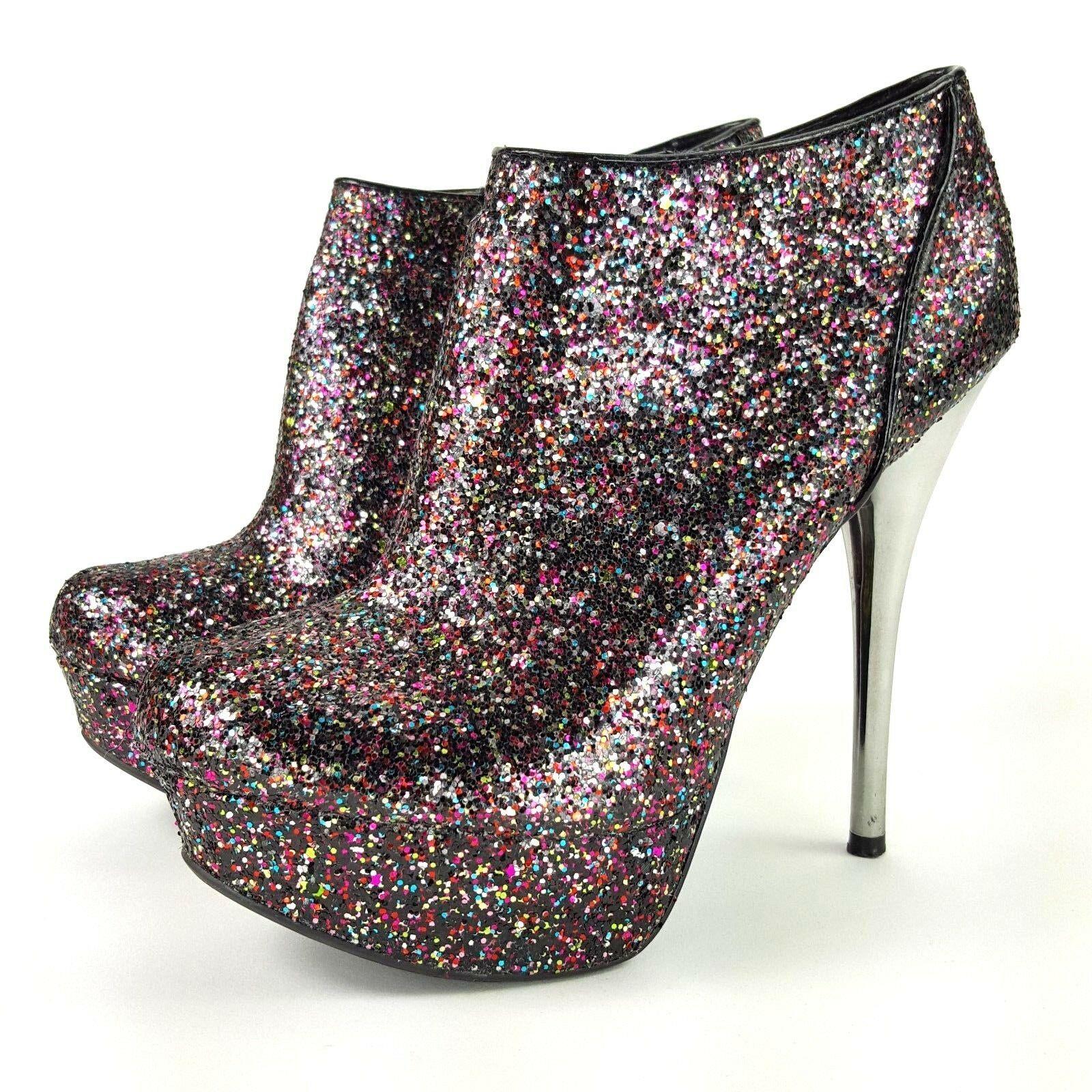 Qupid Womens Size 7.5 Glittery Clubbin Bootie Platform High Heels - $13.09