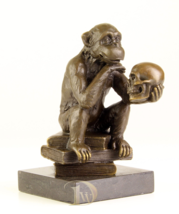 Antique Home Decor Bronze Sculpture shows Ape with Skull signed * Free Shipping  - $199.00