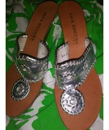 Jack Rogers Silver  Wedge Backless Heels  Womens  Size 7 M - $36.04