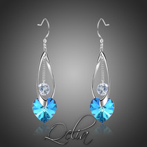 Blue Heart Austrian Crystals Drop Earrings Wedding Valentine's Day Gift ... - $21.17
