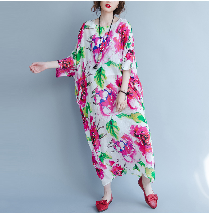 Plus Size Floral Maxi Dress Cotton Beach Dress Maternity Dress crop sleeve NWT