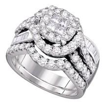 14k White Gold Princess Round Diamond Bridal Wedding Engagement Ring Set - $2,137.24