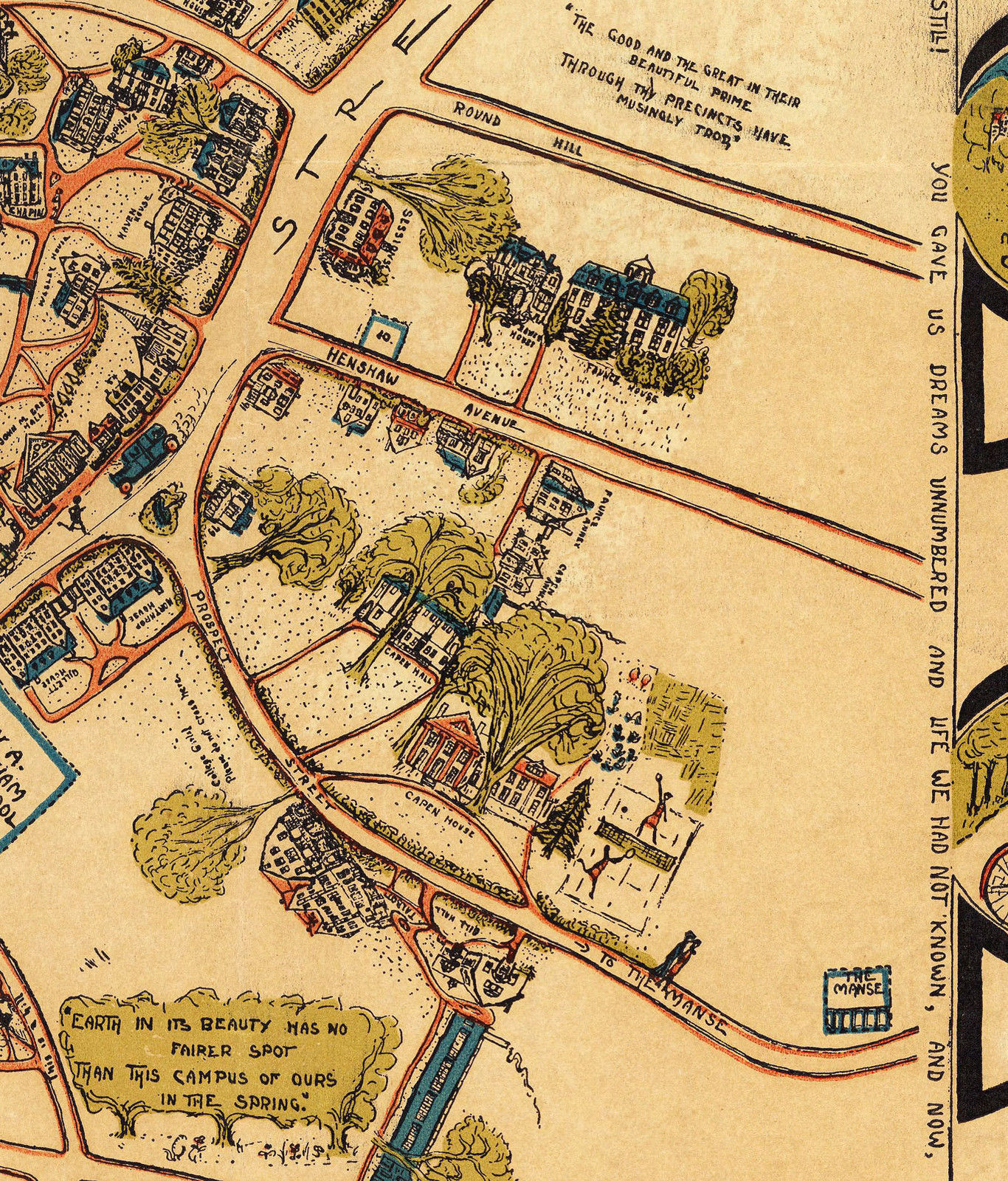 1932 Pictorial Map Princeton University Campus Buildings Streets Poster Print