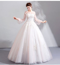 Vintage White Tulle Floral Wedding Dress Ball Gown Women Bridal Gowns 2019 Cheap - $97.00