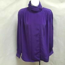 Foxcroft 10 Top Purple Pleated High Neck Hidden Button Long Sleeve Shirt - $23.50