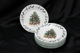 "Gibson Tree Trimmings Xmas Salad Plates 7.75"" Set of 8 - $54.87"