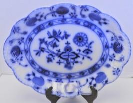 "1900s Johnson Bros England Flow Blue ""Holland"" Blue Onion Oval Platter - $142.49"
