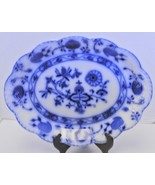 "1900s Johnson Bros England Flow Blue ""Holland"" Blue Onion Oval Platter - $142.49"