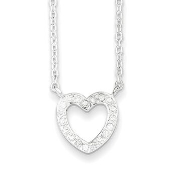 Primary image for Lex & Lu Sterling Silver CZ & Heart Necklace 17""