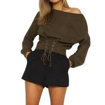 Shorty Lace Up Loose Women Cropped Sweater Top - $24.36