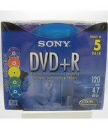 SONY DVD+R 120 min. 4.7 GB (5 Pack) Color Collection Recordable 2004 Bla... - $12.08