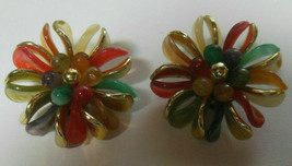 Vintage Gold-tone Multi-color Wired Plastic Pinwheel Floral Clip-on Earr... - $18.99