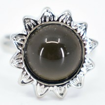 Sunflower Flower Silver Tone Round Cabochon Color Changing Adjustable Mood Ring