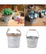 Flower Pot Metal Vase Barrel Garden Shabby Vintage Decor Iron Galvanised... - $9.99